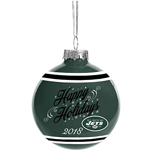 Forever Collectibles New York Jets 2018 Happy Holidays Glass Ball Ornament 2 5/8″ Diamter