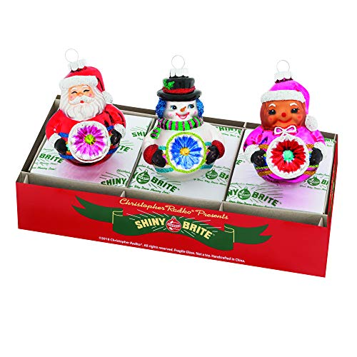 Christopher Radko Figure Colorful 3 inch Glass Holiday Decorative Hanging Ornaments Box of 3