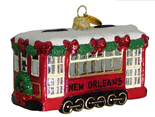Landmark Creations' Riverside Streetcar European Glass Christmas Ornament