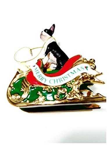 Santa Helper Boston Terrier on Sled Ornament. Danbury Mint 2006.