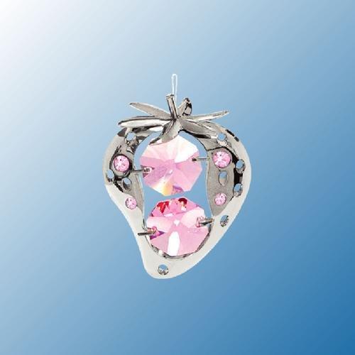 Hanging Sun Catcher or Ornament….. Strawberry in Pink Swarovski Austrian Crystals