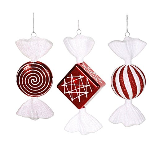 Vickerman M110910 Peppermint Candy with Shiny Iridescent, Shatterproof & Secure Cap In 3 Assorted Styles/Pvc Box, 8″ , Red/White