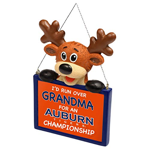 FOCO NCAA Reindeer with Sign I'd Run Over Grandma for A Championship Resin Christmas Tree Ornament-4″-Auburn Tigers