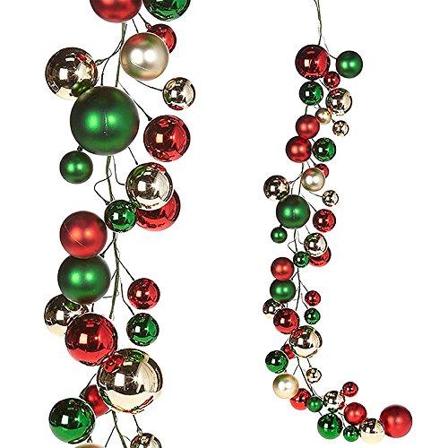 RAZ Imports Raz 4′ Red, Green, and Silver Ball Christmas Garland G3832768