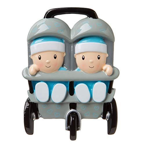 Polar X New Twins in Stroller (Personalized Christmas Ornament (Boy Twins-Blue)