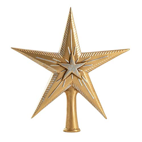 Marolin 7″ German Paper Mache Christmas Topper Binar Star Gold with Silver