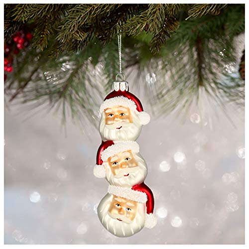 Bethany Lowe Glitter Santa Face Retro Vintage Christmas Tree Glass Ornament Decor
