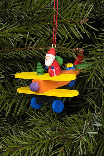 Christian Ulbricht Tree Ornament – Santa Claus on Plane – 6,8×4,8 cm / 3×2 inch