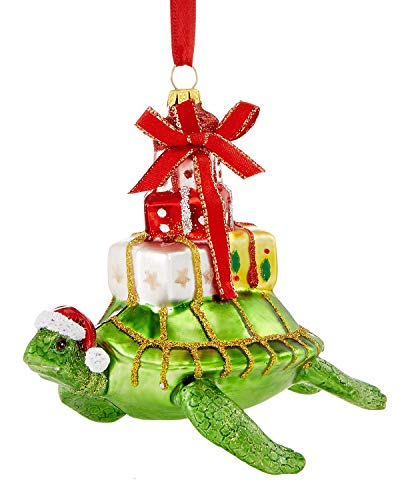 Holiday Lane Glass Swimming Turtle with Presents Ornament