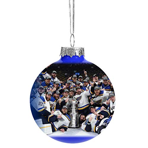 FOCO St Louis Blues 2019 Stanley Cup Champs Glass Ball Christmas Tree Ornament-2 5/8″