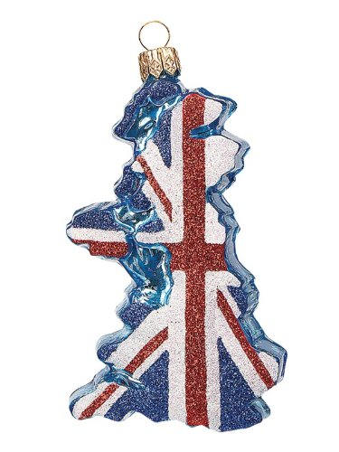 Pinnacle Peak Trading Company United Kingdom Country Flag Polish Glass Christmas Ornament UK Tree Decoration