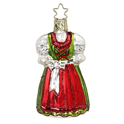 Inge-Glas Bavarian Holiday Dirndl 1-125-16 German Glass Christmas Ornament
