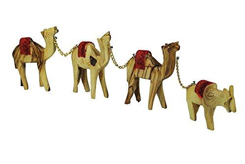 Olive Wood Camels with Red Saddles Set of 4