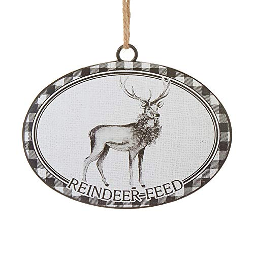 Raz Reindeer Feed Black White Checkered 6 inch Iron Decorative Christmas Ornament