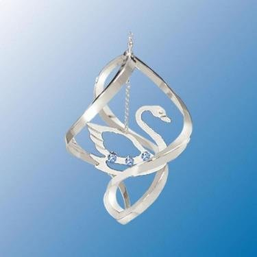 Chrome Plated Swan Mini Classic Spiral – Blue – Swarovski Crystal