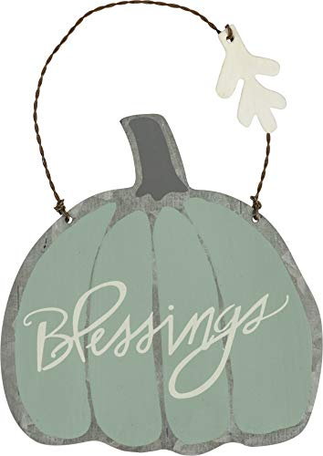 Primitives by Kathy Fall Pumpkin Ornaments, Set of 2, Green – Give Thanks