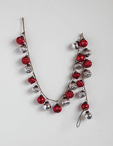 Creative Co-op Red & Silver Embossed Mercury Glass Ornamental Garland, Red