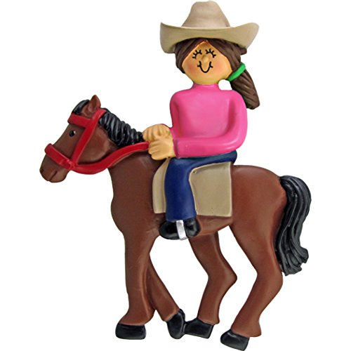 Personalized Horseback Riding Christmas Tree Ornament 2019 – Brunette Horsewoman Equestrian with Western Hat on Trail Lesson Teacher Race Sport Activity – Free Customization (Brown Hair)