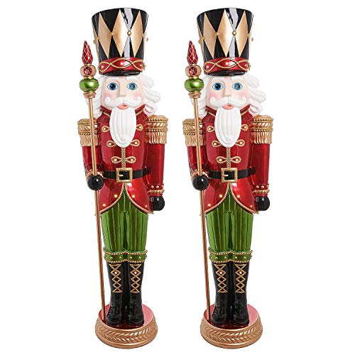 Everstar Pair of Life-Size 6′ Tall Pre-Lit LED Christmas Holiday Nutcracker Toy Soldiers