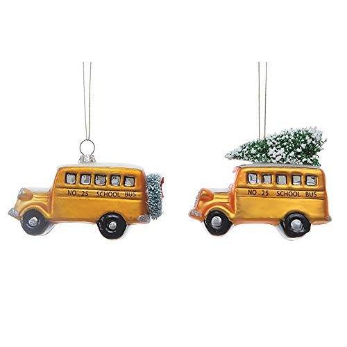 Creative Co-op School Bus Yellow 3 inch Hand-Painted Glass Christmas Ornaments Set of 2