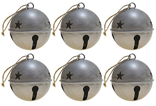 Jingle Bell Ornaments, 3.35-inch diameter, 6-pack (Silver)