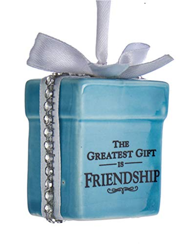 Kurt Adler Tiffany Style Gift Box Ornament 2.25 Inches with Sentiment – The Greatest Gift is Friendship