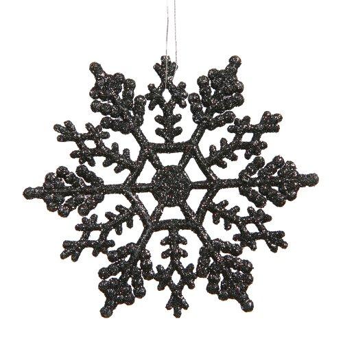 Vickerman 625″ Black Glitter Snowflake Christmas Ornaments, 12 per Box