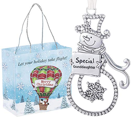 Ganz U.S.A., LLC Swirls of Christmas Snowman Ornaments Special Granddaughter Double Sided for Holiday Christmas Tree Decor Gifts 2019 from The Grandparents Presented in a Holiday Bag with a Snowman
