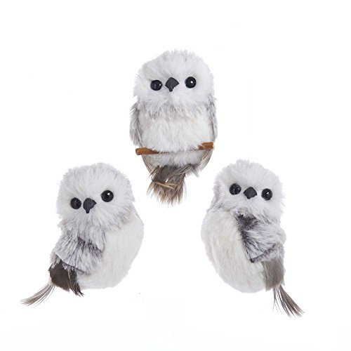 Kurt Adler 3.9″ Gray W/White Fur Owl Ornament 3/A