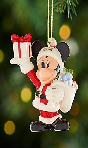 Lenox Walt Disney 2019 Merry Mickey Mouse in Santa suit with gifts Ornament New in box