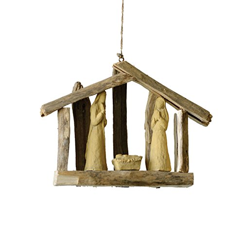 Creative Co-op Country Christmas 7″ L Driftwood Nativity Ornament