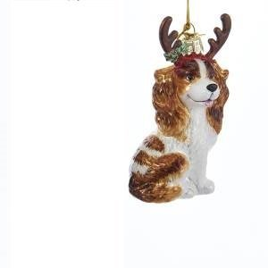 Kurt Adler Noble Gems King Charles with Antlers TAN Ornament