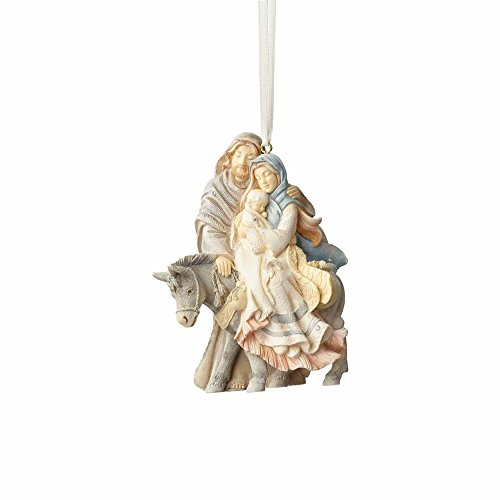 Foundations Stone Resin Hanging Ornament with S-Hook (Holy Family with Donkey)
