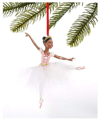 Holiday Lane African American Christmas Ornament Ballerina with White Feather Tutu