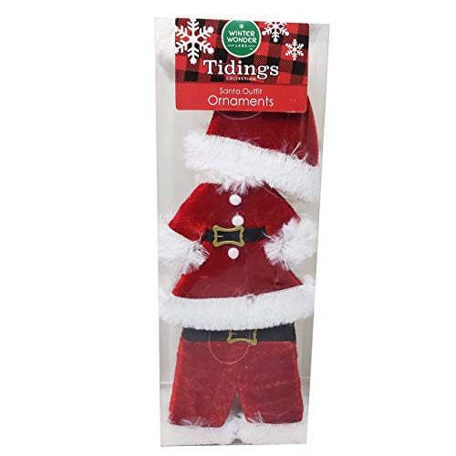 Winter Wonder Lane Santa's Outfit Decorative Christmas Seasonal Holiday Ornaments