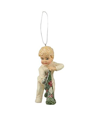 Bethany Lowe Night Before Christmas Stocking Surprise Little Boy Ornament