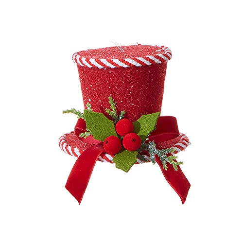 Raz 5″ Peppermint Red Top Hat Christmas Ornament