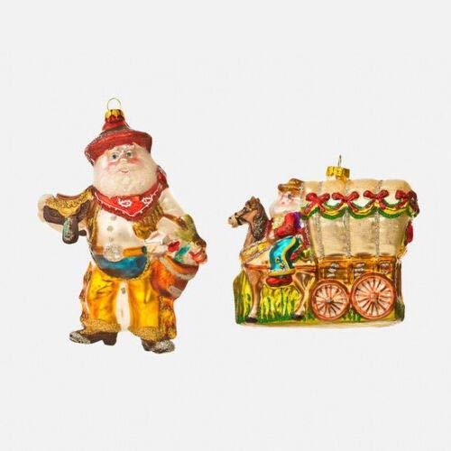180 Degrees Western Cowboy Santa Claus & Horse Christmas Ornaments Set of 2