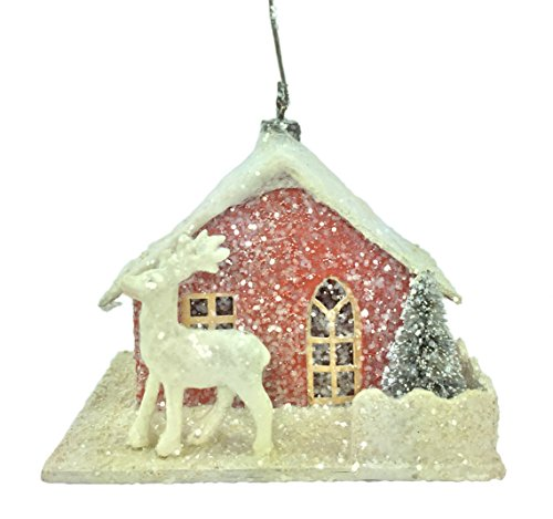 Bethany Lowe – Vintage Red Paper House Ornament – LG8436