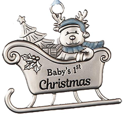 Baby Boys First Christmas Reindeer in Sleigh Ornament for Holiday Tree Decor Xmas Gifts 2019