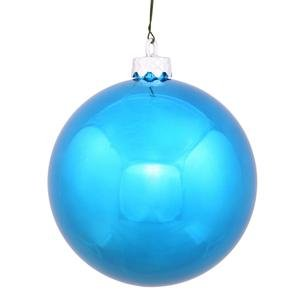 Vickerman Drilled UV Shiny Ball Ornaments, 2.75-Inch, Turquoise, 12-Pack