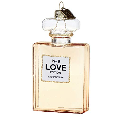 Eric Cortina by RAZ Imports Glass Christmas Ornament, Love Potion No. 9 Perfume Bottle, 3.5-Inches