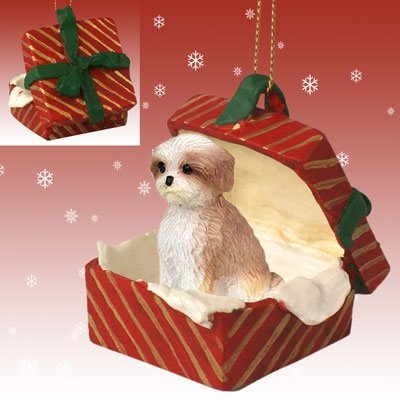 Conversation Concepts Shih Tzu Sport Cut Tan Red Gift Box Christmas Ornament