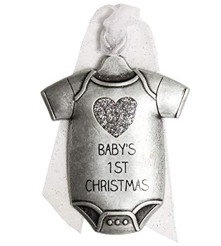 Gloria Duchin 2019 Baby's First Christmas Pewter Christmas Tree Ornaments. Various Styles, Unicorn, Bear, Giraffe (Baby Onesie)
