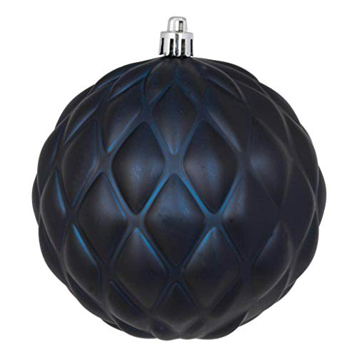 Vickerman 568637-4″ Midnight Blue Matte Round Pine Cone Christmas Tree Ornament (6 pack) (N173231D)