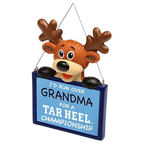 FOCO NCAA Reindeer with Sign I'd Run Over Grandma for A Championship Resin Christmas Tree Ornament-4″-North Carolina Tar Heels
