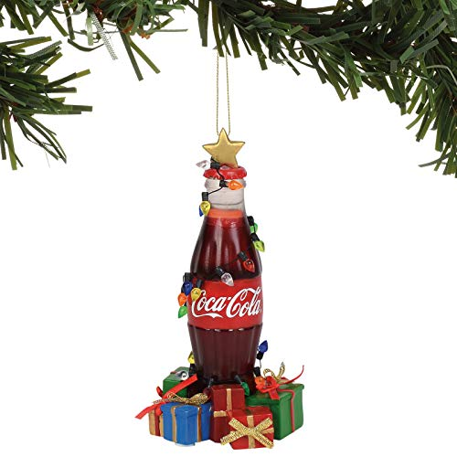 Department 56 Coca-Cola Bottle with Gifts Musical Hanging Ornament, 6 Inch, Multicolor