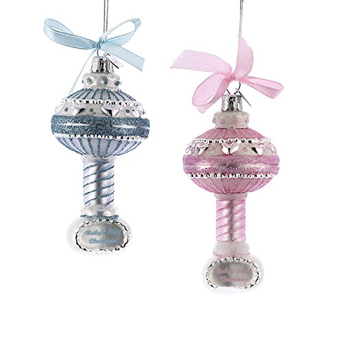 Kurt Adler 3.5″ Noble Gems Glass Baby Rattle Ornament Set