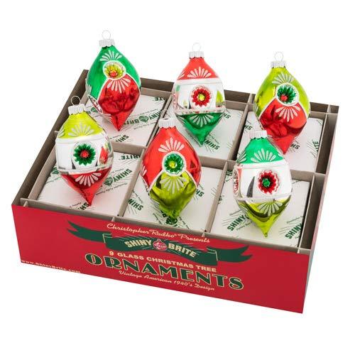 Shiny Brite Holiday Splendor Set of Six 3.5 inch Multi Reflector Tulip Ornaments
