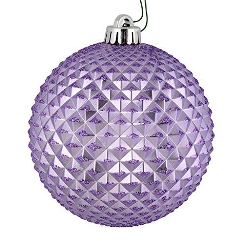 Vickerman 530610-4″ Lavender Durian Glitter Ball Christmas Tree Ornament (6 pack) (N188586D)